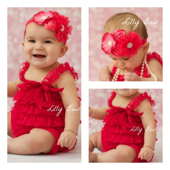 Baby girl clothes fushia pink lace petti romper amp headband set preemie