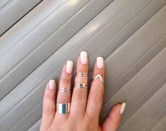 Silver Multifinger rings - Set of 7 Silver rings - knuckle rings, Midi ring, Adjustable ring, cuff ring, silver rings.