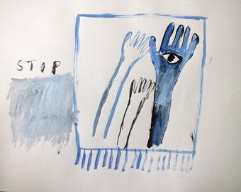 Blue Hands (A2 original painting)