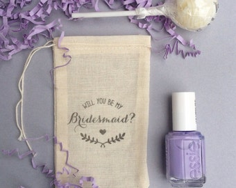 """Bridesmaid Proposal - Stamped """"Will You be my Bridesmaid"""" Muslin Bags - set of 6"""