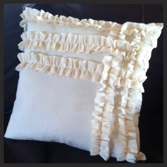 Items similar to Handmade Ruffle Pillow Sham - Shabby Chic on Etsy