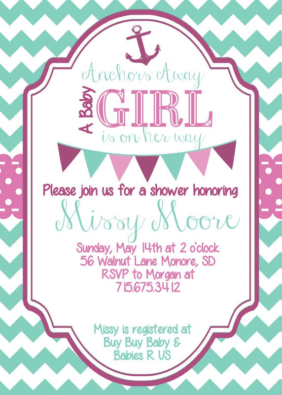 baby girl nautical baby shower invitation by sjpinvitations