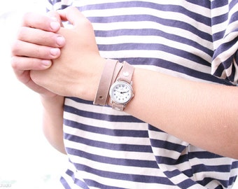 Free Shipping - beige cream tan ecru fawn leather bracelet wrap around wrist with silver watch face for women