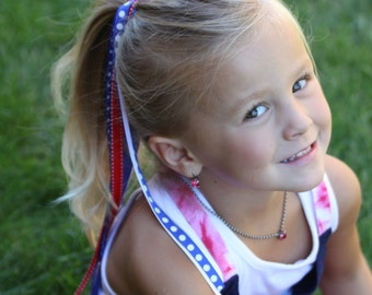 Red White Blue Team Spirit Ribbon Ponies-Ribbon Ponies-4th of July Hair Ribbon Ponies-Hair Accessories-Patriotic Ribbon Ponies-Spirit Ponies