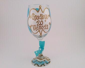 21st Birthday Chevron Personalized Custom Name 21 Birthday Wine Glass or Beer Mug
