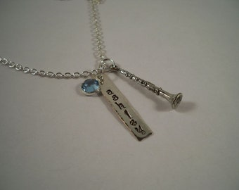 Clarinet Hand Stamped Metal Personalized Charm Necklace