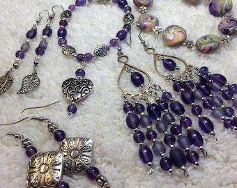 Earrings & Bracelets - Pretty Perfect Purple!