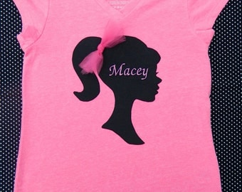 Appliqued Barbie Silhouette Shirt...INCLUDES Embroidery Of Child's Name On Silhouette or Below