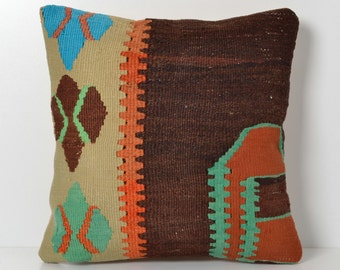 Kilim Pillow - Handwoven Vintage Turkish Kilim Pillow Cover 16x16 Pillow Ethnic Pillow Cover Tribal Pillow Cover Cushion Cover