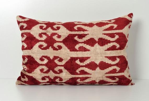 Red Ikat Pillow Ikat Lumbar Pillow Red Decorative Pillows