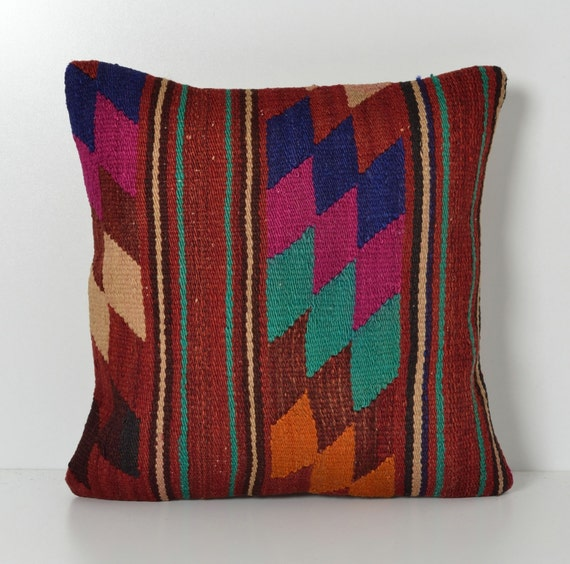 Modern Kilim Pillows : Kilim Throw Pillow 16x16 Modern Organic Hand Woven Wool