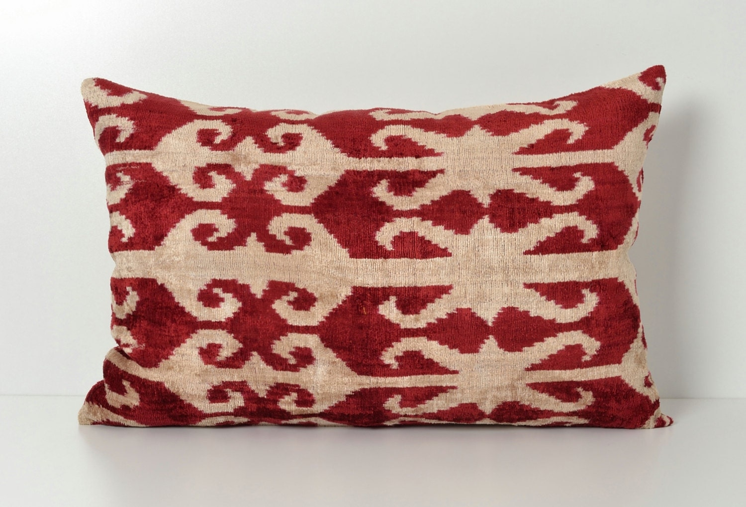 Throw Pillow Red : Red Ikat Pillow Ikat Lumbar Pillow Red Decorative Pillows