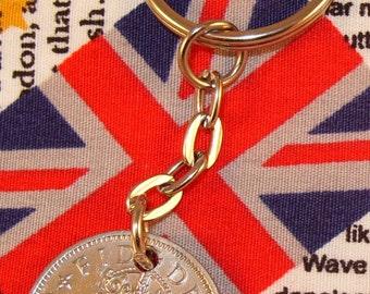 1957 Old English Shilling Coin Keyring Key Chain Fob Queen Elizabeth