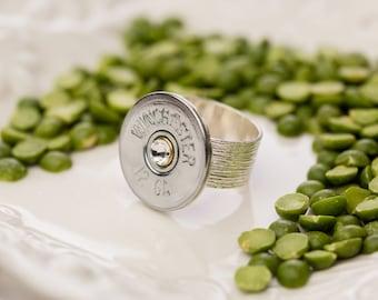 Bullet Casing Jewelry - Adjustable Wide Band Shotgun Bullet Ring (12 Gauge)