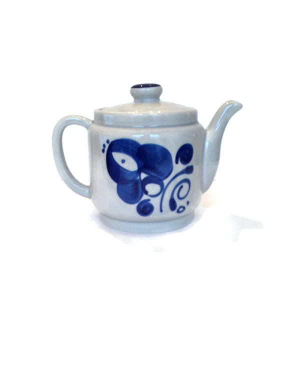 Vintage European teapot blue floral pottery stoneware gifts for mom