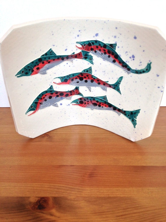 Ceramic serving dish trout decoration unique fish plate gifts for dad