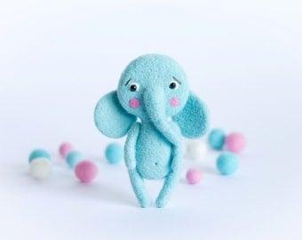 Needle Felted Blue Elephant