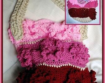 Crocheted Floral Tri Pink Tote, Purse, Yarn Bag
