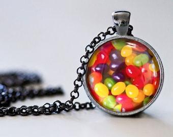 Spring Jelly Bean Pendant Necklace - Spring Necklace - Spring Jewelry - Jelly Beans