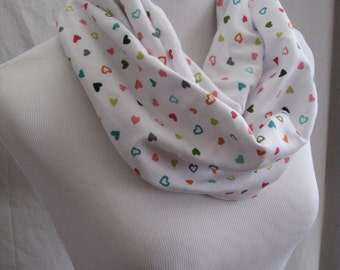 Colorful Polka Dot Hearts on White Medium Length Jersey Knit Infinity Scarf - matching small and long scarves available