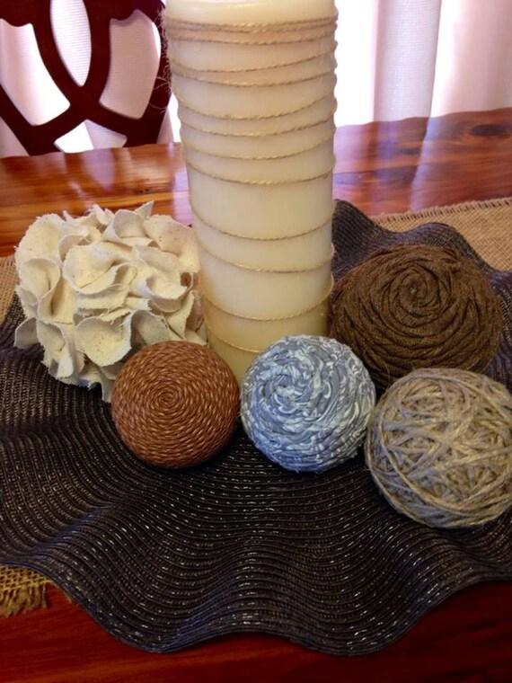 Decorative balls brown natural tan grey leather flower