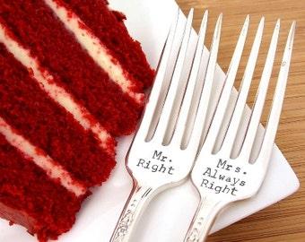 Wedding Forks, Mr. Right Mrs. Always Right Fork Set - Hand Stamped, Wedding Gift, Anniversary Silverware, Bridal shower gift