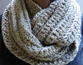 SALE Chunky Infinity Scarf Crochet Cowl in Oatmeal Brown
