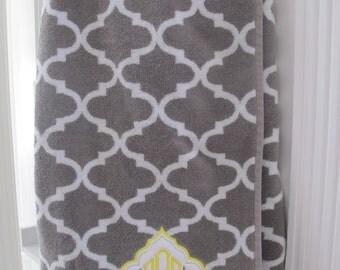 monogrammed moroccan tile towel wrap with appliqué