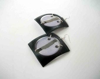 earrings ceramic raku and vinyl - ceramic blue records square - europeanstreetteam