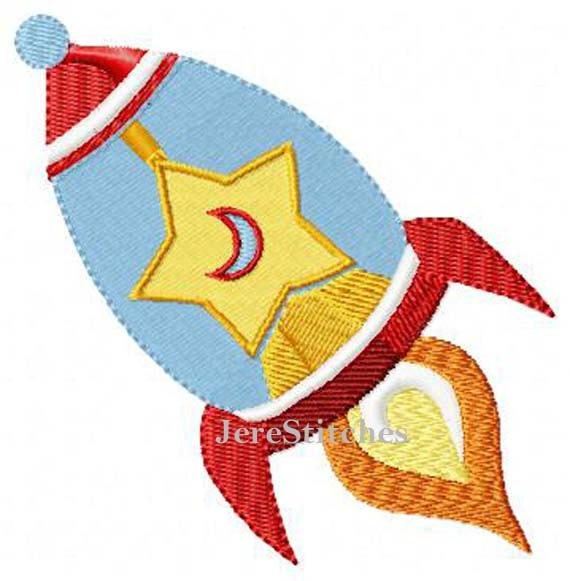 Rocket ship space ship machine embroidery design by for Space embroidery designs
