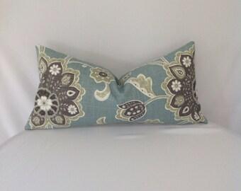 Teal Floral Lumbar Pillow Cover
