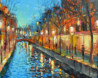 Alley of lovers - contemporary wall art oil palette knife on canvas painting by Dmitry Spiros