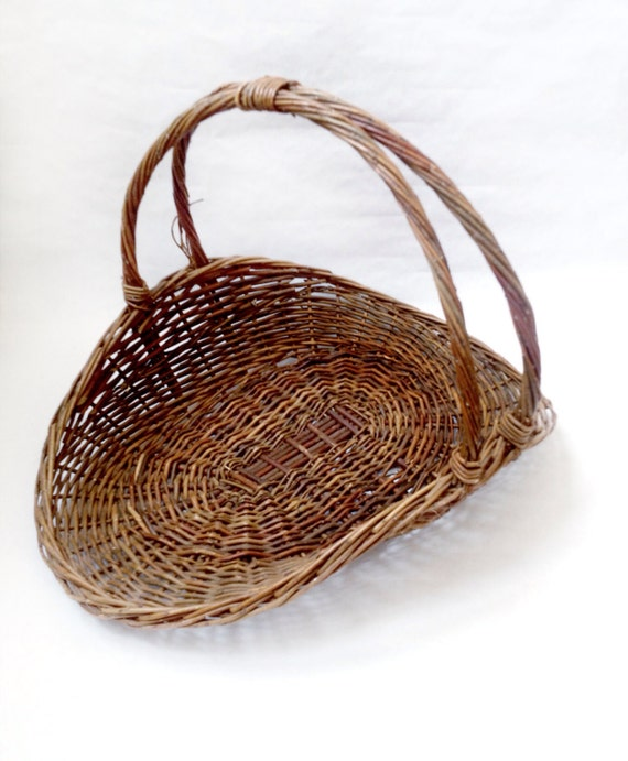 Rattan Flower Baskets : Vintage french wicker flower gathering basket