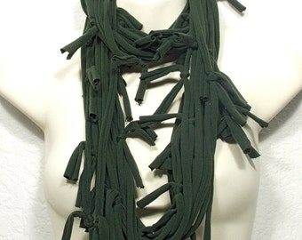Infinity Necklace Scarf Upcycled Tied Fringe Jersey T-Shirt String Necklace