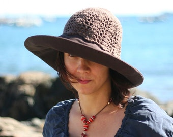 Wide Brimmed Women Crochet Sun Hat, Summer Hat, Crochet Beach Hat Large Size in Brown