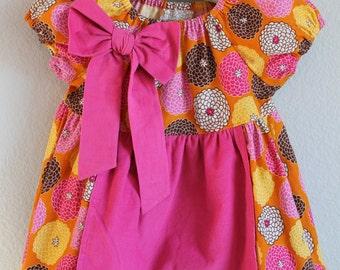Girls Pink, Orange and Brown floral corduroy apron peasant twirl dress