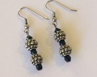 Antiqued silver with black swarovski crystal earrings