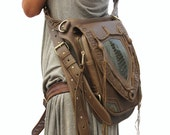 Leather holster, leather utility belt, festival belt, steam punk belt, tribal jungle, navaho, messenger bag