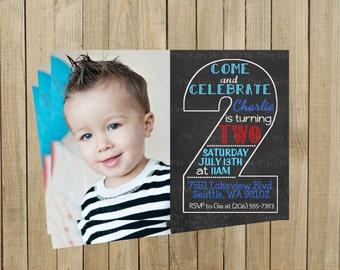 Vintage Chalkboard Two Second Birthday Invitation, Blue and Red, Printable, Custom Digital File