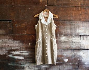 vintage 80s taupe tank dress