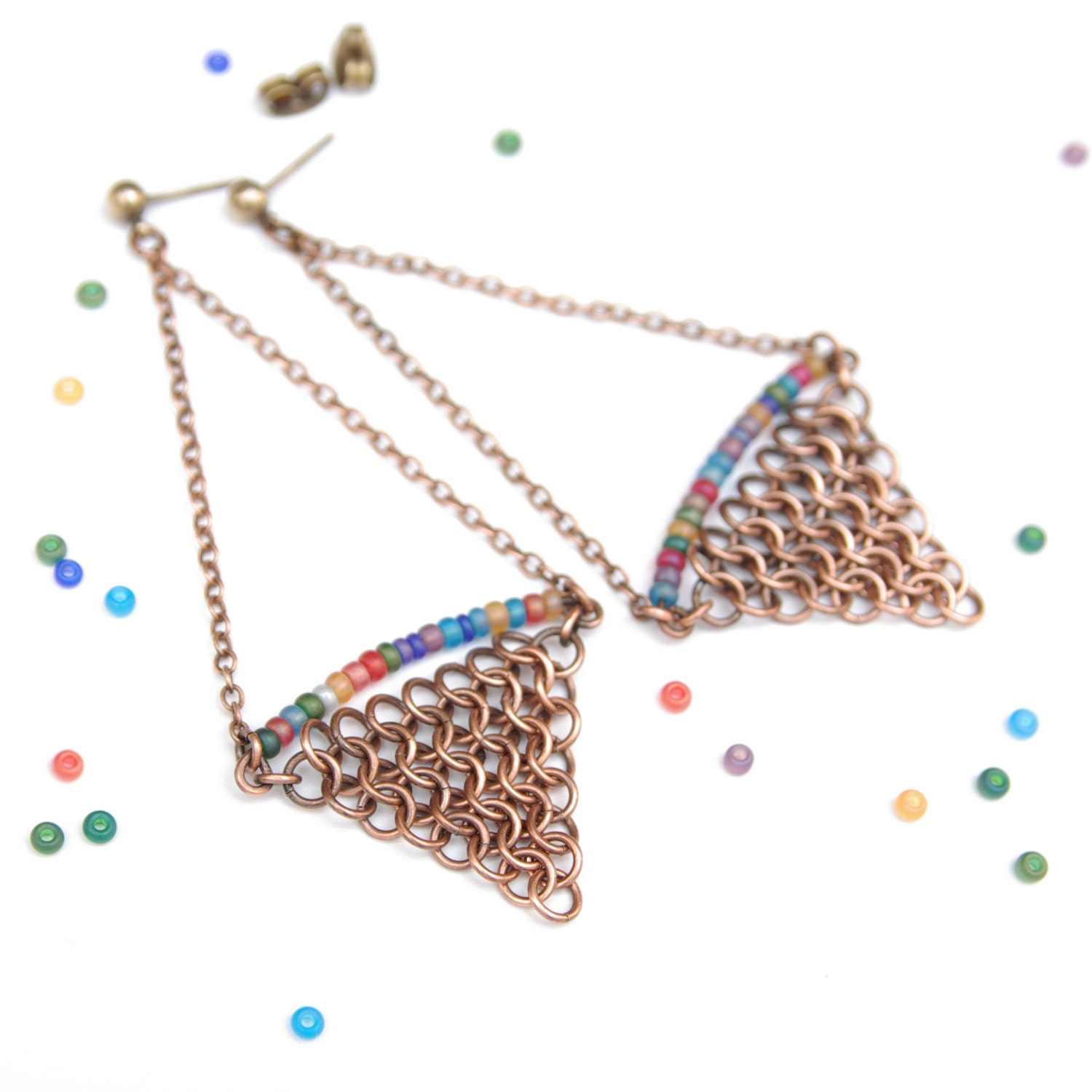 Triangle Earrings: Dangle Earrings / Geometric Jewelry / Chainmaille Triangle