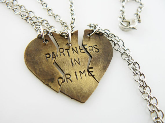 items similar to partners in crime sted necklace