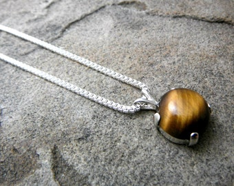 South African Tigers Eye Necklace, Tigers Eye Pendant Necklace, Fine Jewelry, Gemstone Necklace, Stone Necklace