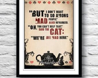 Alice in Wonderland, Quote Poster, Typographic Print, Wall Decor, Lewis Carroll, Literature art, Minimalist