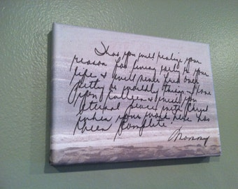 CUSTOM Handwriting on Canvas - Memorial (Reason for Living)