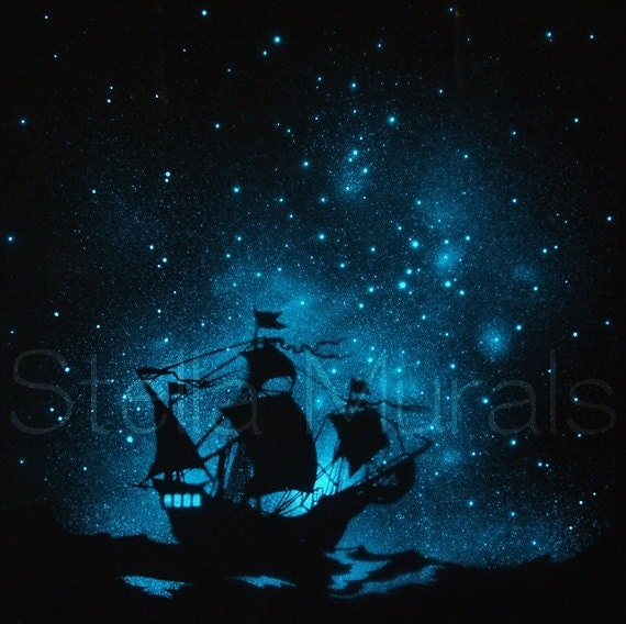 Glow In The Dark Star Poster Caravel Ship On The By