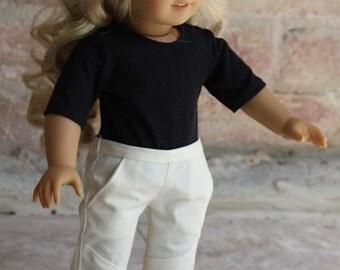 Moto Pants for 18 inch dolls - Cream Twill