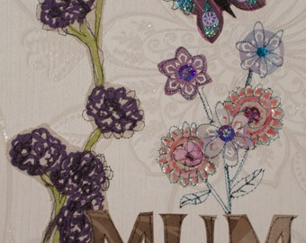 Handmade Mothers Day Gift Butterfly applique embroidery wall art Mixed media