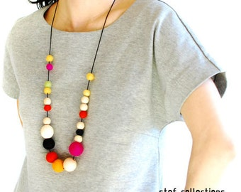 Colourful Necklace. Felt Ball Necklace. Wooden Bead Necklace. Large bead Necklace. Statement Necklace. Quirky. Bold. Adjustable Necklace.