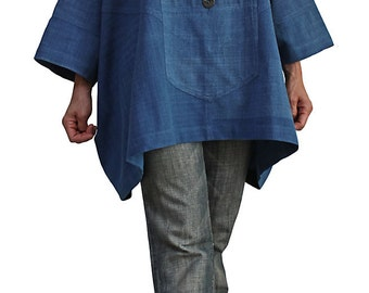 ChomThong Hand Woven Cotton  High Neck Poncho Tunic (BFS-122-03)